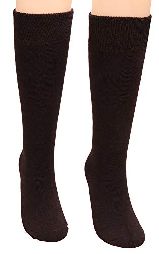 Galsang 2 Pack Womens Thick Cable Knee High Warm Cotton Winter Socks Solid Color A159 (coffee)
