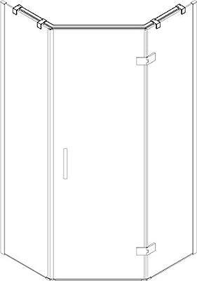 Mampara de ducha, 120x200 cm, espesor 8 mm, panel fijo+puerta ...