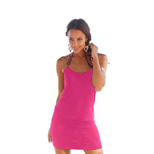 A Ad Corti Sera Donna Estivi Spiaggia Bodycon da Scollo Dress Linea Abiti Cerimonia Senza Abito Mini Pieghe Rosa Sciolto V Vestitini Vestito Maniche Cocktail Ragazza Da Vestiti Da Eleganti Partito rnXzI8Xq