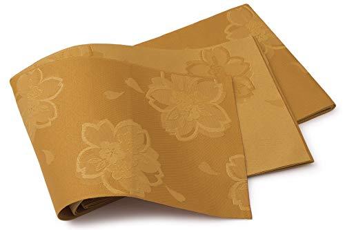 傷跡やさしい変位半幅帯 黄土色 桜 梅 花 レトロ 薄手 単衣 カジュアル レディース 仕立て上がり
