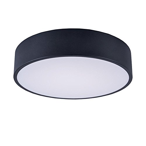 - Black Round Flush Mount,13.8-inch Modern LED Ceiling Light Fixture with 3500K Warm White for Hallway,Bedroom,Foyer,Living Room,18W(1620LM) by Lanros