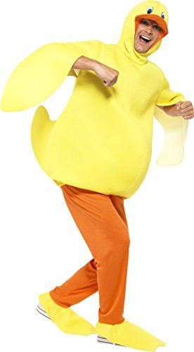 Smiffy's Adult Unisex Duck Costume, Bodysuit, pants, Yellow, Attached Headpiece and Feet Covers, Party Animals, Serious Fun, One Size, 43390