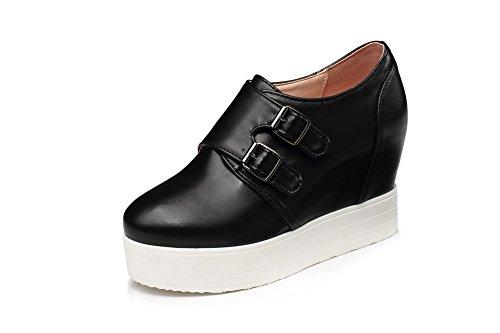 Allhqfashion Mujer Pull On High Heels Pu Sólidas Bombas De Punta Redonda Cerrada Zapatos Negro