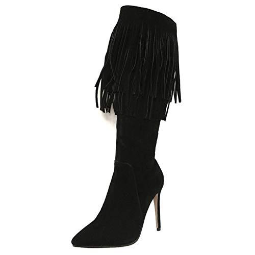 Taoffen Cuissardes Aiguille Bottes Sexy Talon Mode Femmes Noir qFrftwqv
