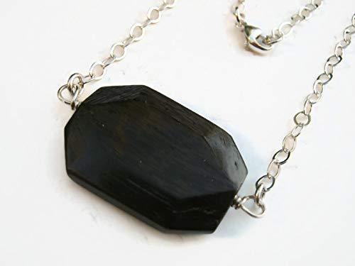 Black Tourmaline Rough Crystal Pendant 18 inch Faux Suede Unisex Necklace
