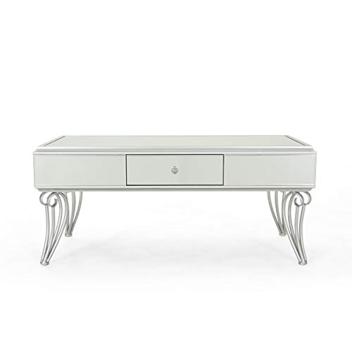 Ophelia Modern Mirrored Coffee Table with Drawer, Tempered Glass, Silver Iron Frame