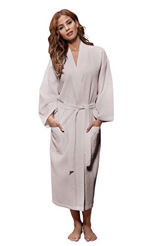 Turquaz Linen Lightweight Long Waffle Kimono Unisex Spa Robe (Small/Medium, Taupe) by Turquaz Linen