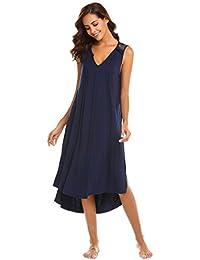 77a1be7c8a Cotton Sleepwear Women s Casual V Neck Nightshirt Short Sleeve Long Nightgown  S-XXL
