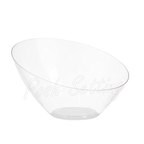 Salad Bowl Plastic Clear - Posh Setting Clear Plastic Bowls for Parties, Disposable Serving Bowls, Hard Plastic Large Angled Party Snack Bowls, Chips Bowls, Salad, Candy and Fruit Bowl 5 Pack