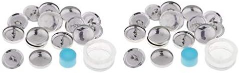 Hellery アルミ ボタン台座 ボタン足パーツ ボタン留め 20mm ボタン 手芸 セッティング 裁縫材料 約20個