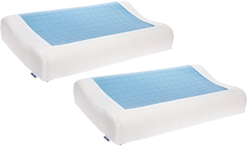 Mindful Design 2 Pack Cooling Contoured Memory Foam Pillow - Dual Sided Cooling Gel Pillow with Removable Cover (Design Visco Memory Foam Contoured)