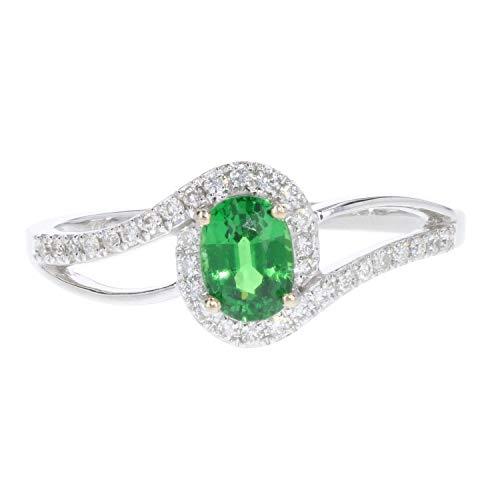 Oval Tsavorite Garnet with Diamond Halo Ring in 14K White Gold