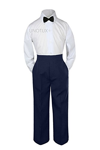 Leadertux 3pc Formal Baby Toddler Boys Black Bow Tie Navy Blue Pants Outfits S-7 (3T) (Toddler Blue Tuxedo)