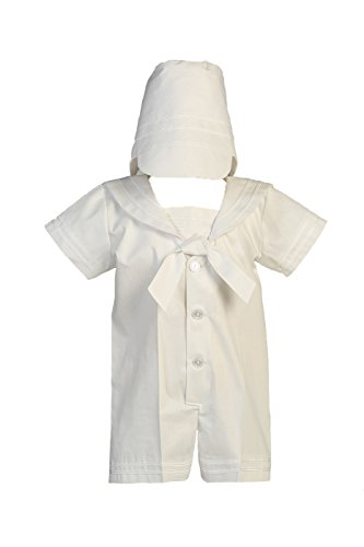 White Sailor Poly-cotton Outfit for Christening Baptism and Special Occasion - M (6-12 Month, 13-17 lbs)