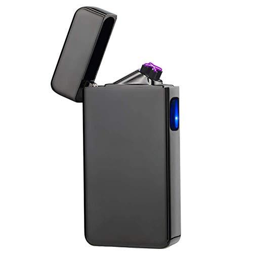 Lighter Cigar Butane - Dual Arc Plasma Lighter USB Rechargeable Windproof Flameless Butane Free Electric Lighter for Cigar,Candle (Black)