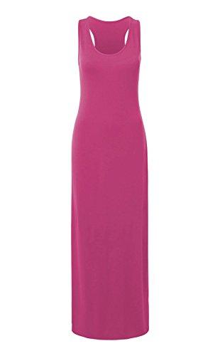 Las mujeres señoras chaleco Racer muscular espalda Jersey Vestido Largo de verano Maxi Plus tamaño 8–�?8 Cereza