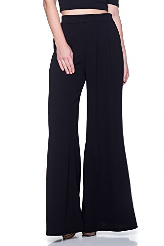 5 Pocket Wide Leg (Cemi Ceri Women's Junior Plus J2 Love Wide Leg Palazzo Pants, 2X, Black)