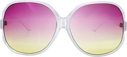 The Fresh New Women's Vintage Style XL Oversized Jackie O Frame Ocean Colored Lens Sunglasses with Gift Box (1-Crystal, Purple-Yellow) -