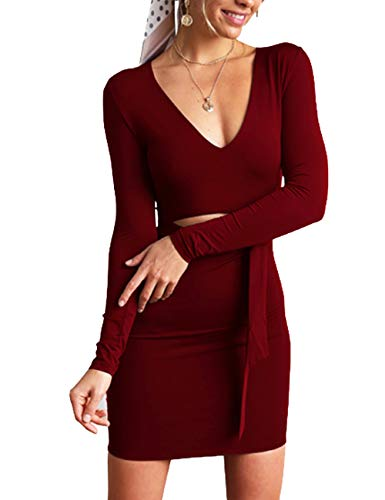 Tie V Club Bodycon Deep Front Womens Dress Neck Long Haola Mini Winered Sexy Dress Sleeve 0wnq1aqETP