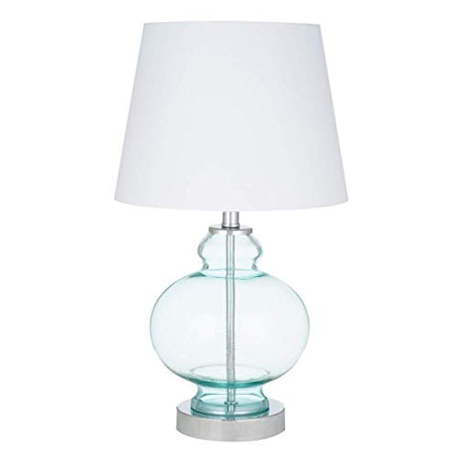 (Ravenna Home Modern Round Blue Glass Table Lamp With LED Light Bulb - 10 x 10 x 17.50 Inches,)