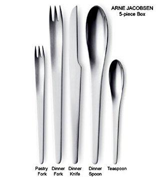 Georg Jensen Arne Jacobsen 5 Piece Flatware Set, Matte Finish