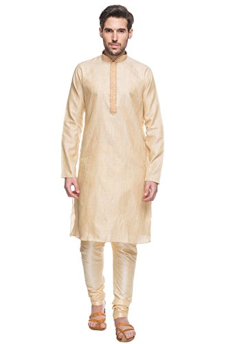 Shatranj Men's Indian Ethnic Embroidered Placket 2-Pcs Textured Suit Set; Natural; MD by Shatranj
