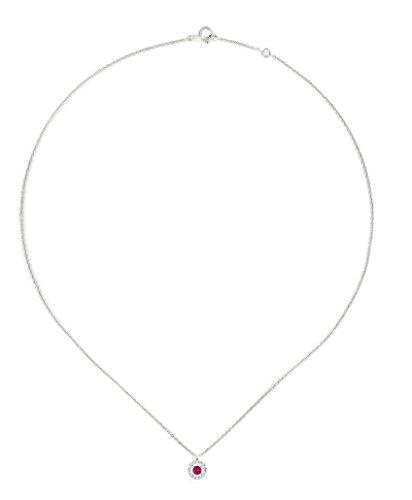 Tousmesbijoux Collier en Or blanc 375/00 diamants et rubis