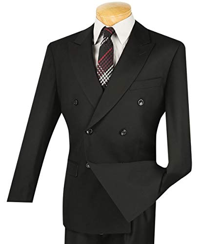 (VINCI Men's Premium Solid Double Breasted 6 Button Classic-Fit Suit Black | Size: 42 Regular / 36)