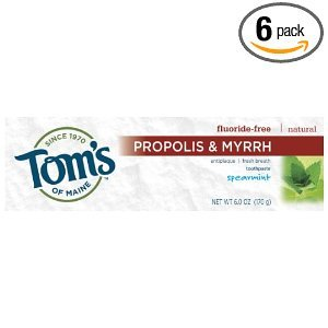 Tom's of Maine Propolis & Myrrh Natural Fluoride Free Toothpaste, Spearmint 5.5 oz (155 g) (Pack of 6)