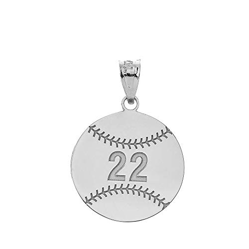Sterling Silver Softball - Sports Charms 925 Sterling Silver Personalized Baseball/Softball Pendant with Your Name and Number