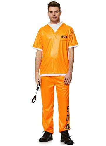 Jail Convict Costume - Halloween Mens Orange Prisoner Shirt Trousers, Medium
