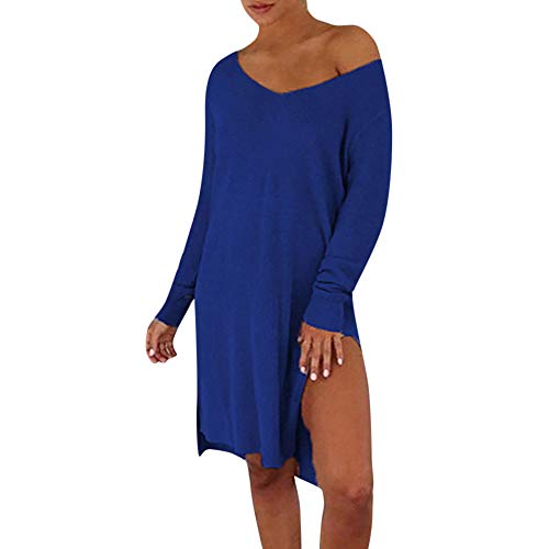 Lowprofile Side Slit Dress Women V Neck Loose Plus Size Sweater Solid O-Neck Strapless Midi Dress