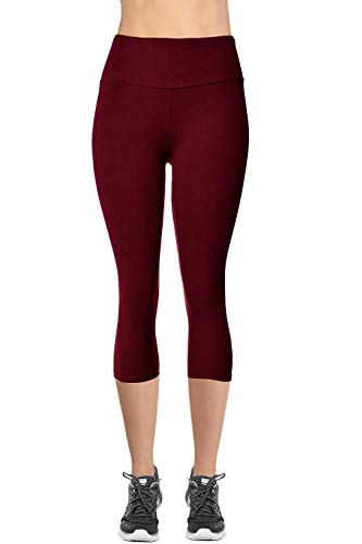 (VIV Collection Signature Capri MID Yoga Waist NO Pocket (XXL, Burgundy))