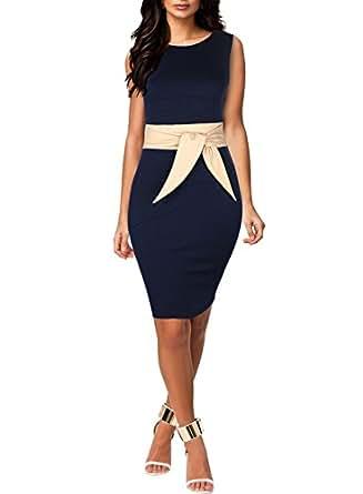 Miusol Women's Scoop Neck Optical Illusion Belt Business Dress (Small, Navy Blue)