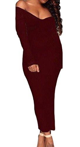 Sexy Neck Maroon Collar Cutaway Autumn Dress Club Women's Knit Winter Comfy V x8wq1UYSg