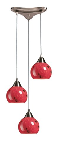 - Elk 101-3FR 3-Light Pendant In Satin Nickel and Fire Red Glass