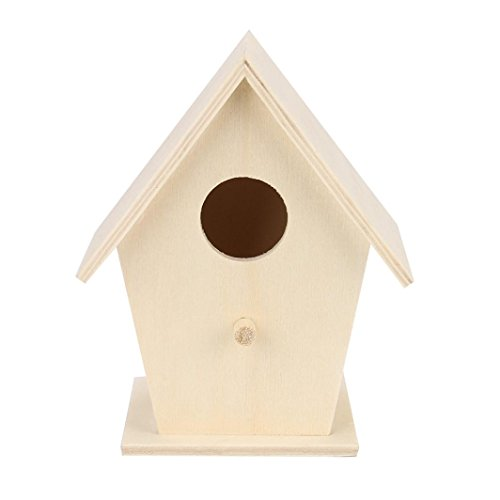 SUJING Bird House Outdoor Garden Patio Wooden Bird House Garden Wooden Birdhouse Kit Nesting Box (12x9.5 (Metal Lighthouse Bird Feeder)