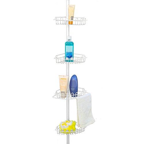 Home Basics BS10444 4-Tier Bathroom Shelf, Fit In Corner of Shower