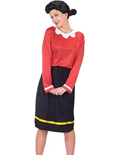 Women's Popeye The Sailor Man Olive OYL Dress and Wig Costume Medium-Large 10-14 ()