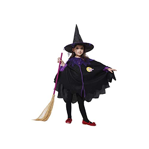 Girls Halloween Cute Witch with Hat and Cape Kids Costume Trick Treat (Small)