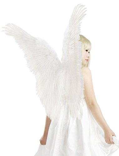 White Angel Costume (FashionWings (TM) White Butterfly Style Costume Feather Angel Wings &Halo Unisex)