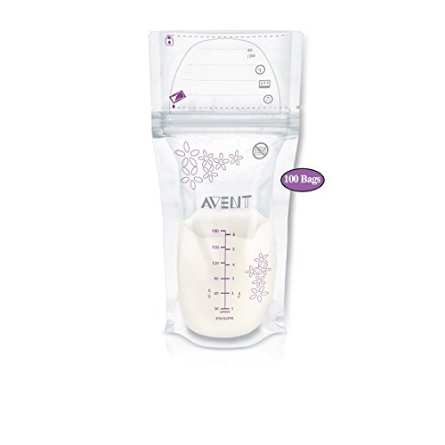 Philips AVENT Breast Milk Storage Bags, Clear, 6 Ounce, 100 Pack