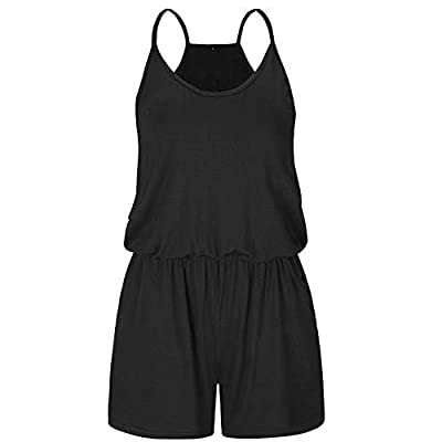 STYLEWORD Womens Summer Floral Spaghetti Strap Short Casual Jumpsuit Rompers: Clothing