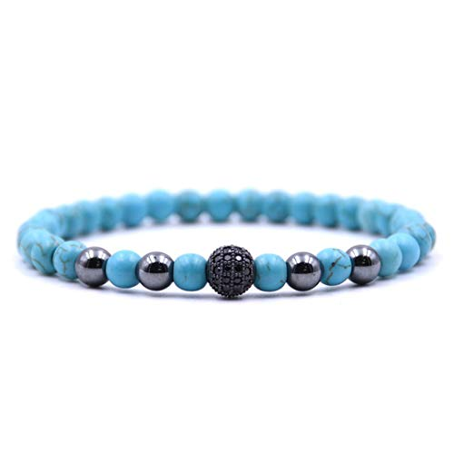 2Pcs/Set Micro Mosaic 8Mm Black Ball Bracelet 6Mm Natural Stone 5 Colors Collocation Beaded Bracelets For Men Women Classic 2-1