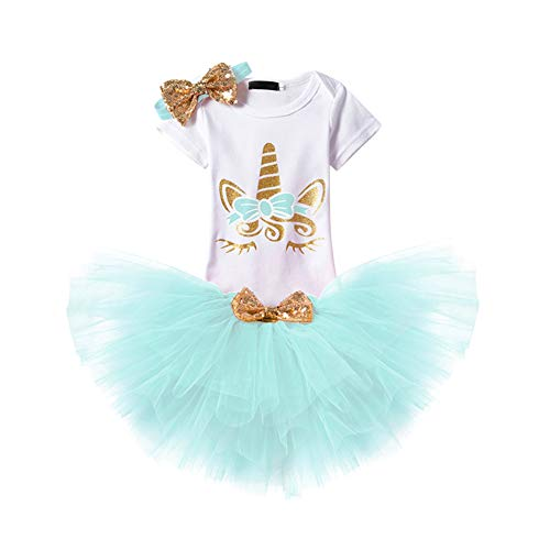 Baby Girls Unicorn 1st Birthday Outfit Summer Short Sleeve Romper + Ruffle Tulle Skirt + Sequin Bow Headband First Halloween Cake Smash Party Tutu Dress Clothes 3pcs Set for Photo Shoot Blue 18-24M -