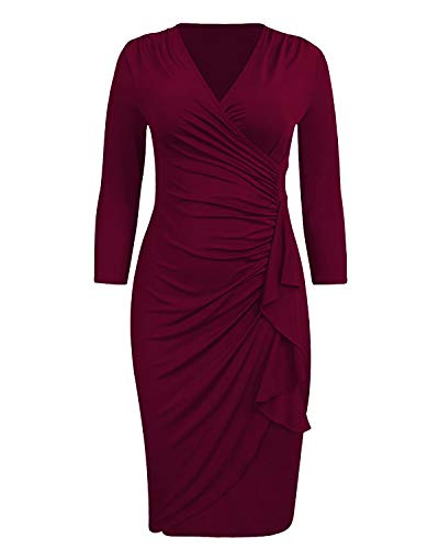 VIUVIU Women Wrap V Neck Dress 3/4 Sleeve Pencil Midi Ruched Office Ladies Work Dresses (XL, Wine red)