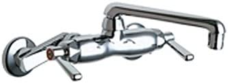 Chicago Faucets 445-ABCP Wall Mount Lavatory Metering Faucet with Metal Lever Handles, Chrome