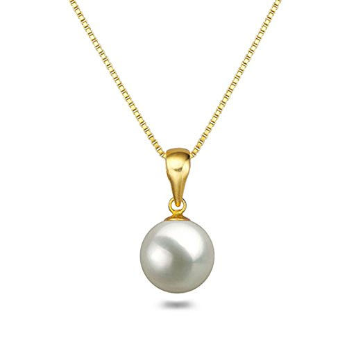 (White Japanese AAAA 9mm Akoya Cultured Pearl Pendant Necklace 18 Inch Solitaire Necklace Pendant)
