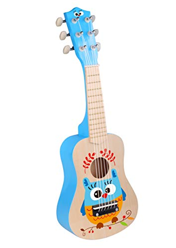 TOYSTER'S Wooden Toy Guitar Ukulele with Real Tuning | Colorful Musical Instrument for Toddler Boys and Girls | Fun Interactive Educational Toy Makes a Fantastic Children's Gift