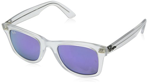 Ray-Ban RB4340 Wayfarer Ease Sunglasses, Matte Transparent/Violet Mirror, 50 mm